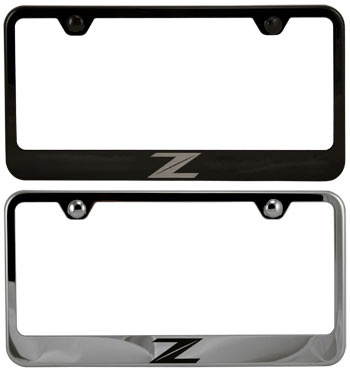 stainless steel license plate frame laser etched 370z logo
