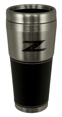 Motorsport stainless amp leather 350z quot z quot logo travel coffee mug the