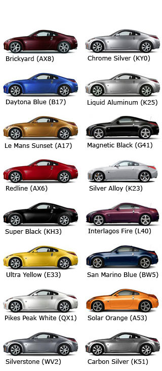 Color Codes By Model Year My350z Nissan 350z And 370z Forum